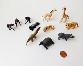 Vintage Set of Made In Hong Kong Miniature Plastic Animals/Miniature Plastic Animals/Vintage Plastic Animals/Made in Hong Kong