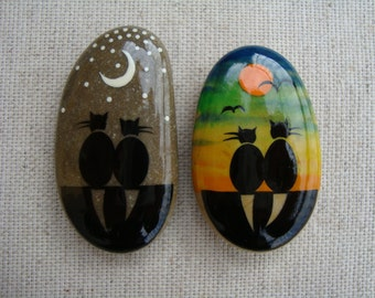 Stone magnets-OOAK miniatures-hand painted stones-black cats-cats for romance-collectible magnets