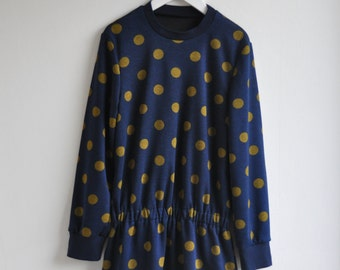 Girl tunic dress size EU 140. Jersey fabric navy blue with ocre dots.