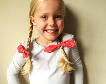 Red Polka Dot Bow Hair Ties, Hair Elastic Pigtail Bows, Hair Accessories, Gifts for Girls, Cute Hair Ties, Hair Elastics
