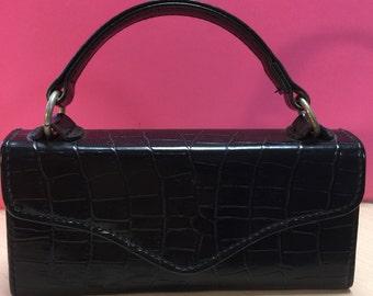 Vintage Mini Boxed Handbag, Little Girl's Black Leather Bag