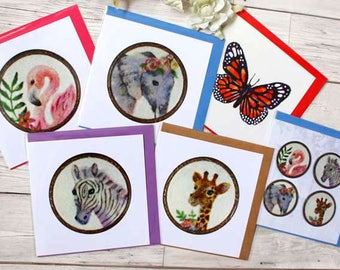 Safari Animal Greeting Card Set, Safari Animal Cards, Animal Card Set, Teacher Cards, Father's Day Card, Friends Cards, Cards Envelopes