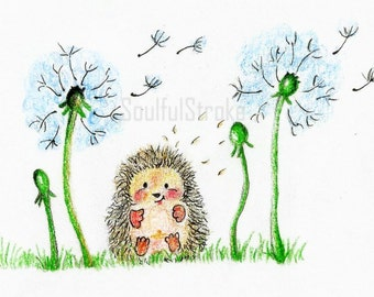 Cute hedgehog with dandelions print - nursery art - kids room decor