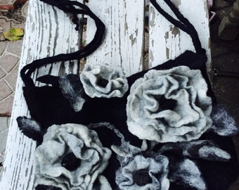 Felt bag, Felt hip-bag,Wool Felted Purse,Woman Felt Bag,Felt Hand Shoulder bag, European Art Design, Handmade