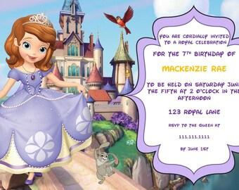 Disney Sofia The First Princess Birthday Invitation Digital Download