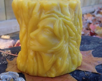 100% Pure Beeswax Pillar Candle. Wood Spirit Goddess