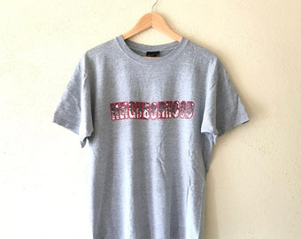 Rare!Vintage 90's NEIGHBOORHOOD Tshirt Big Logo  Spell Out Hip Hop swag japan brand grey colour large size (SW3)