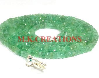 """On Sale Natural Emerald 3-4mm Faceted 16"""" Beads Necklace - Emerald Necklace - Emerald Faceted Beads - Emerald Rondelle - Emerald Beads"""