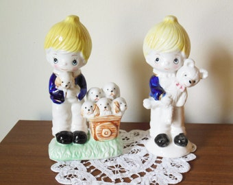 China boy figurines - Vintage Set of two little boy glassware figurines - little blonde boys with puppies teddy bear nursery decor boys room