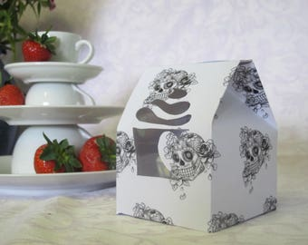 Two Skull Individual Cupcake Boxes with Inserts