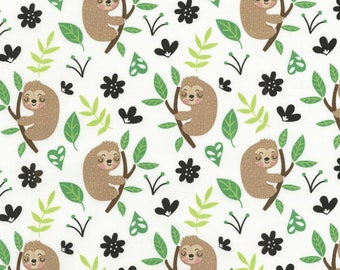 White Sloth Cotton Fabric