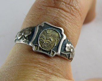 Enamel silver ring