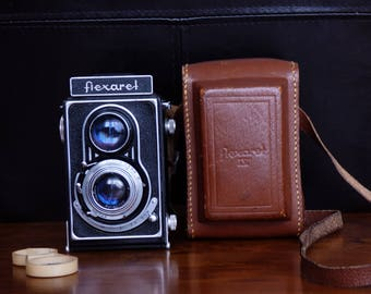 Flexaret IV, Camera, Old Cameras, Meopta, with Original Leather Case, made Czechoslovakia, Vintage, Retro, Antique, TLR Camera, 6x6 Camera
