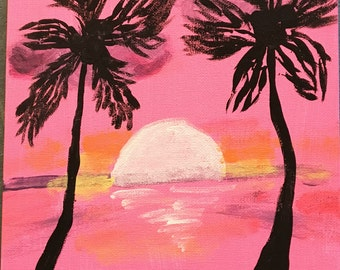 Original 8 x 10 Acrylic Painting Pink, Orange and Yellow Sunset with Palm Trees