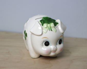 Vintage Lefton Irish Clover Piggy Bank