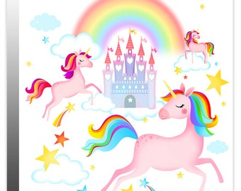 Enchanted Unicorns, Rainbow, Fairy Tale Castle & Stars Girl's Children's Canvas Wall Art Print Picture - Designed by Rubybloom Designs