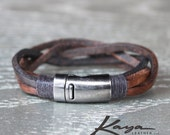 Bracelet Leather Cuff Unisex Brown Black, Magnetic Gunmetal Clasp, Mens Womens, Real Leather, Birthday Anniversary Bridesmaids, Kaya Leather