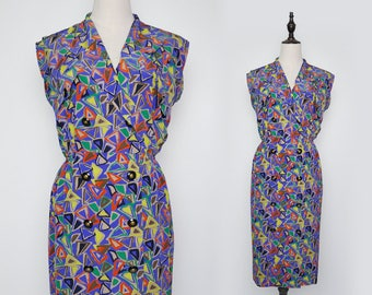 Violet Vintage Women Dress Colourful Triangle Print 1980s Sleeveless Size M