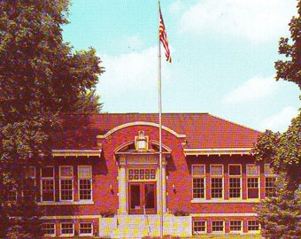 Vintage Owosso Public Library, Owosso, Michigan,  Used Postcard
