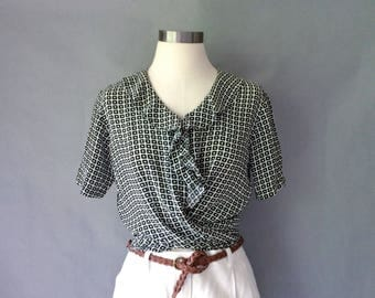 Vintage silk plaid ruffle collar short sleeve button down blouse/shirt/top women's S/M