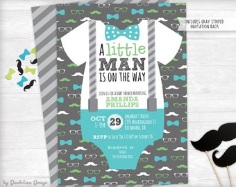 A Little Man is on the Way Baby Shower Invitation plus Thank You Card Printable