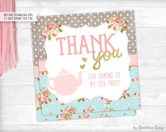 Tea Party Thank you Tag Printable Instant Download