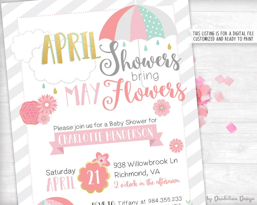 april showers bring may flowers baby shower invitation