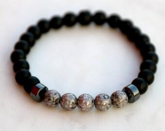 Matte Black Onyx and Gunmetal Bracelet - Anniversary Gift Boyfriend, Husband, Birthday Gift Husband, Boyfriend Gift, Groomsmen Gift
