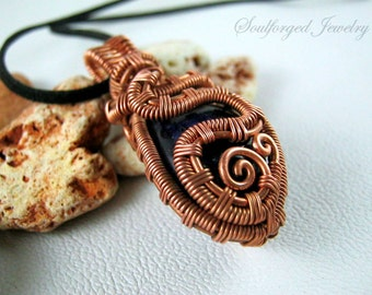 OOAK copper and agate pendant - Unique double sided copper wire wrapped pendant with dark purple agate gemstone, handcrafted
