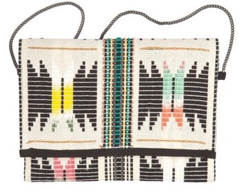Bohemian Hand Embroidered Clutch or transform to Cross Body with Beige Gun Metal Chain Strap