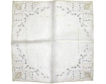 Vintage Appenzell Handkerchief, White Embroidered Lace Handkerchief, Hand Embroidered, Bridal, Wedding, Vintage Handkerchief, Hanky