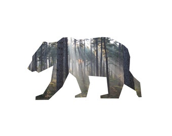Art Print 'Bear In The Woods' Inspired By Nature Home Decor Collectable Item