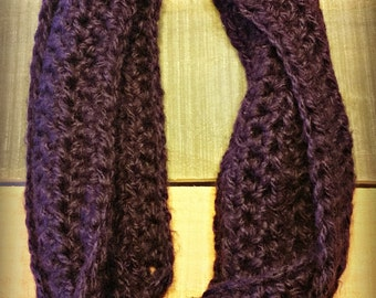 crocheted infinity scarf - soft crocheted infinity scarf - purple infinity scarf