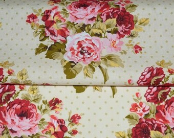 Shabby Roses Fabric, Floral and Polka Dots Fabric, Fabric by the yard, Fat Quarter, Quilting Fabric, Apparel Fabric, 100% Cotton Fabric, F-5