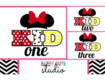 Kid One Two Three Matching Mickey Mouse Minnie Mouse Brother Sister Matching Family Vacation  Disney Iron On Decal Vinyl for T Shirt 011