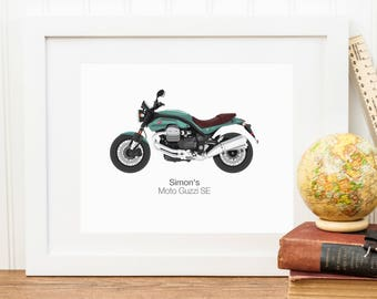 Personalised Motorbike Illustration Portrait