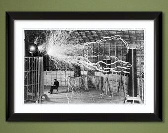 Nikola Tesla – Colorado Springs Lab – Magnifying Transmitter – Dec 1899 (18x12 100% PCW Heavyweight Art Print)