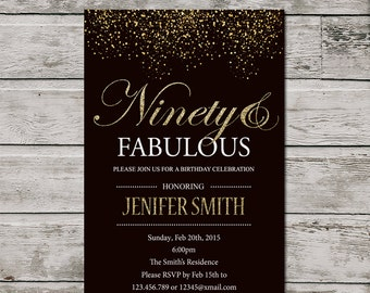 90th Birthday Invitation For Women, PRINTABLE Ninety And Fabulous Birthday Invite, Golden 90th invitation. Silver Glitter Ninety Invitation