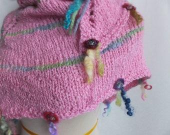 Hand knitted alpaca silk shawl, knitted shawl