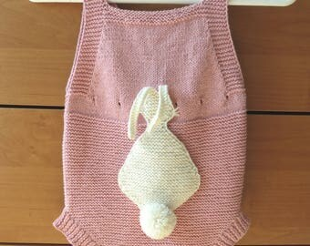 Baby pink lace romper, baby romper knit, baby romper girl, knit baby girl romper, cotton girl onesie, pink girl romper, lace knit romper
