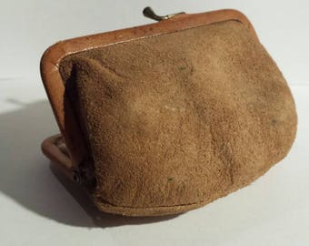 Vintage real suede leather purse. Fully lined, including lucky sixpence.