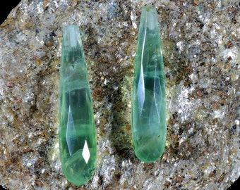 1 Pair, Two Pcs, Green Prehnite Drops, 35x8 mm Faceted Top half drilled Pear shape, Teardrop Earrings or pendant, Genuine Gemstones