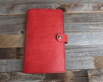 Large Moleskine Leather Cover~folio~Fits up to 4 soft Cahier notebooks~Antiqued~Patina~Leather~Personalised~Refillable~Red