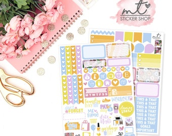 Kiss The Cook Mini Kit || Vertical || 80+ Planner Stickers || Erin Condren Life Planner