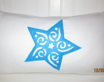Cozy White Flannel Pillow with Blue Christmas Star (Holiday, Felt applique, Feather filled, Down pillow, Christmas Decor, Pillow)