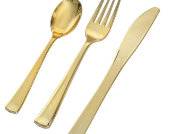 Metallic Gold Plastic Cutlery Set - Disposable Flatware for 120 Guests (360 piece total)