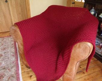 Red Merino Wool Crochet Blanket/Throw