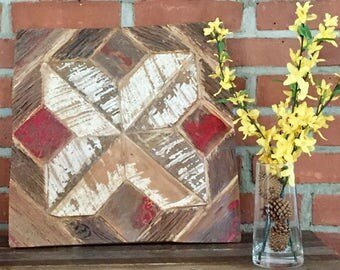 Reclaimed Barn Wood Wall Art: American Quilt Series- Shaded TrailPattern