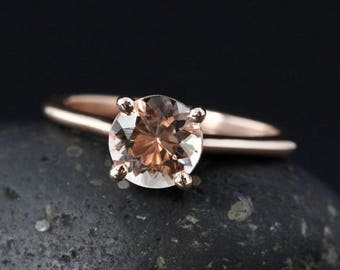 Rose Gold Blush Pink Morganite Solitaire Engagement Ring - Choose Your Setting