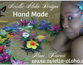 Aviella Aloha Designs Hawaiian Orchid Flower Hair Clips